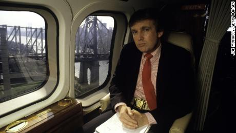 Donald Trump, real estate mogul, entrepreneur, and billionare, utilizes his personal helicopter to get around in August 1987 in New York.